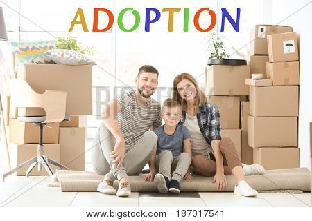 Adoption concept. Happy family sitting on floor at home