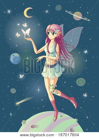 Vector illustration of the manga girl fairy in space where the stars are near her hand.