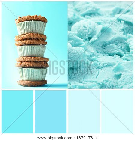 Mint color matching and cookies with ice cream, closeup
