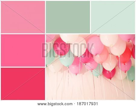 Mint color matching and festive balloons, closeup