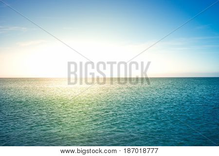 Calm blue sea and sky. Seascape Travel background. Summer vacation holiday.