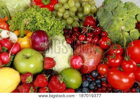 Vegetable fruit food groceries bell peppers apples berries