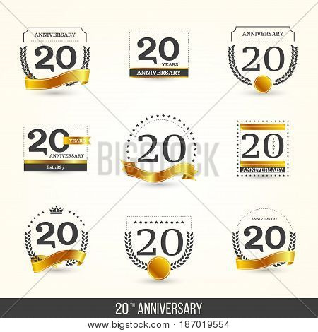 20th anniversary logo set with golden elements. Vector illustration.