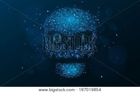 Hacking system. An abstract luminous skull of blue color from a binary code. The data is under threat. Programming in design. Vector illustration. EPS 10