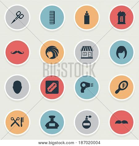 Vector Illustration Set Of Simple Hairdresser Icons. Elements Scent, Premises, Hackle And Other Synonyms Tube, Bottle And Odor.