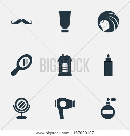 Vector Illustration Set Of Simple Hairdresser Icons. Elements Reflector, Glamour Lady, Aroma And Other Synonyms Drying, Architecture And Girl.