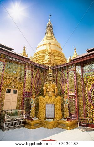 Su Taung Pyi Pagoda on top of Mandalay Hill in Mandalay, Myanmar (Burma)
