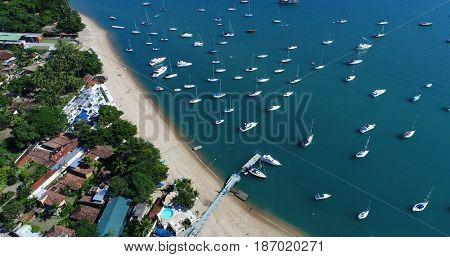 Aerial View of Saco da Capela Beach in Ilhabela, Brazil