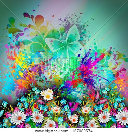 Colorful abstract background with flowers and butterflies
