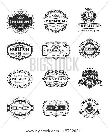 Set of illustrations, badges, stickers premium quality isolated on white