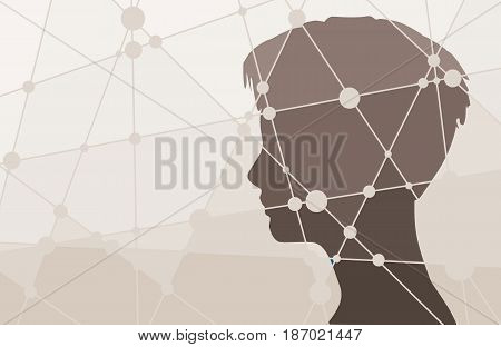 Silhouette of a woman's head. Mental health relative vector brochure, report or flyer design template. Scientific medical designs. Molecule And Communication Background. Connected lines with dots.