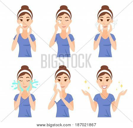 Attractive pretty young woman dressed in casual t-shirt remove make-up, clean, wash up and care her face with sponge. Facial treatment procedures, skincare, healthy lifestyle.