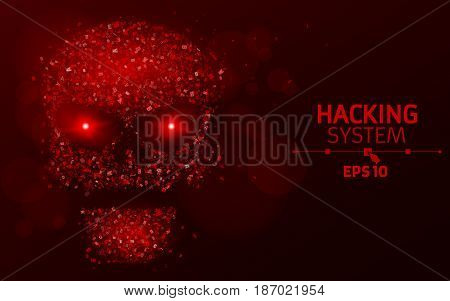 Hacking system. Abstract luminous skull of red color from programming symbols. Blazing neon eyes. The data is under threat. Vector illustration. EPS 10