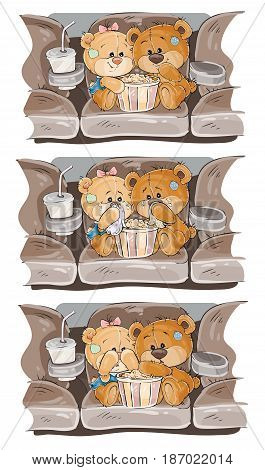 Set of clip art illustrations of enamored teddy bears. Teddy Bears are watching a movie