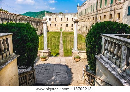 castle courtyard in the euganean hills area padova province italy