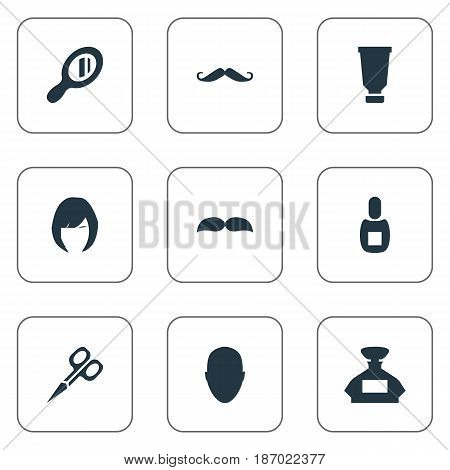 Vector Illustration Set Of Simple Hairdresser Icons. Elements Flask, Cut Tool, Scent And Other Synonyms Scissors, Mustache And Mirror.
