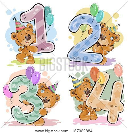 set of numbers being in the legs in a fun teddy bears, template greeting card for a birthday child. Part one - the numbers 1, 2, 3, 4