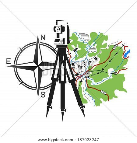 Symbol for geodesy and cartography. Geodesic device and map.