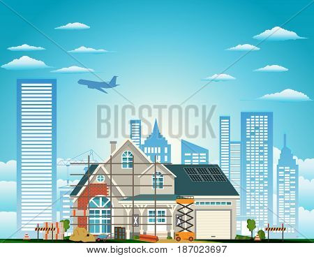 Building a country house placed on the background of the city vector illustration.