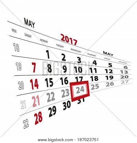 May 24, Highlighted On 2017 Calendar.