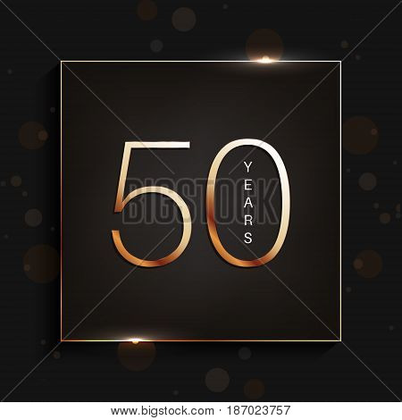 50 years anniversary gold banner on dark background. Vector illustration.