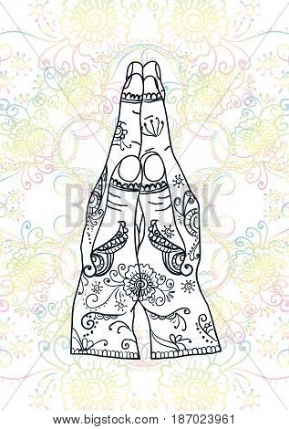 Element yoga mudra hands namaste with mehndi patterns. Vector illustration. Indian traditional lifestyle.