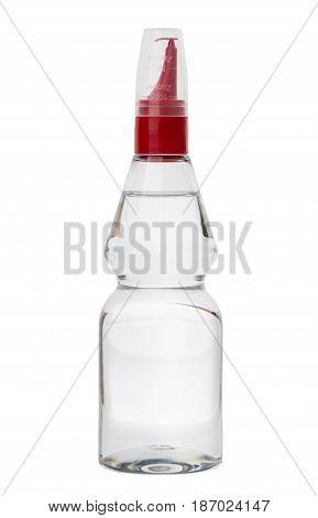Liquid Sugar Substitut In Plastic Bottle Isolated On White