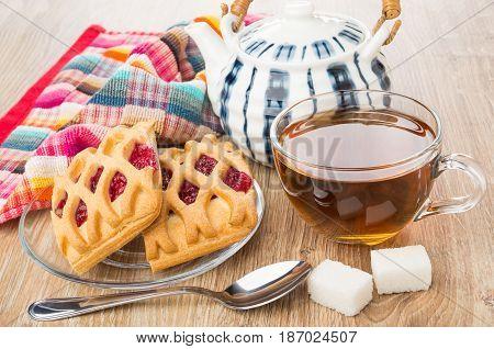 Striped Teapot, Cup Of Tea, Spoon, Lumpy Sugar, Pies