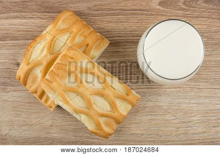 Pie With Cottage Cheese And Glass Of Milk On Table