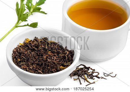 Tea tea cup cup tea leaves beverage isolated on white dried tea