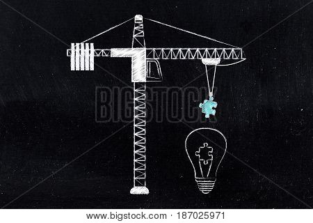 Lightbulb With Missing Piece Of Puzzle Being Completed Through Construction Tower Crane
