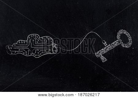 Key And Cloud Made Of Electronic Circuits Connected To Each Other With A Plug