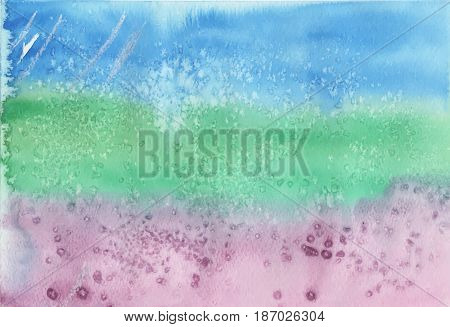 Blue green violet background with colorful brush strokes and crystal effects visible.