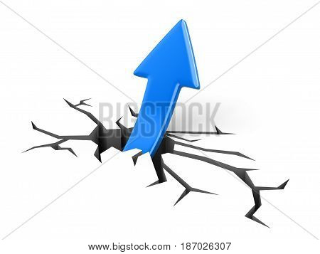 3d illustration. Arrow up. Image with clipping path