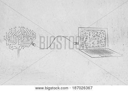 Brain Made Of Electronic Circuits Connected To A Laptop With A Plug