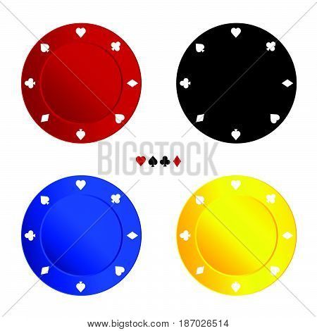 Chips For Gambling In Four Color Illustration