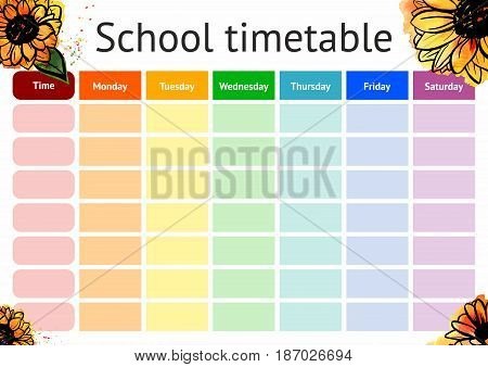 School Timetable, a weekly curriculum design template, scalable vector graphic with watercolor sunflowers