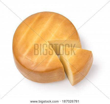 Cheese sector and cheese wheel on white background isolated with clipping path