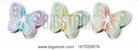 Gingerbread butterfly isolated on white with clipping path