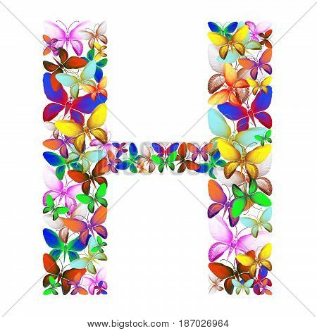butterflies of different colors, made of sea shells isolated on a white background stacked in the form of letters H