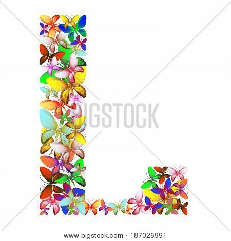 butterflies of different colors, made of sea shells isolated on a white background stacked in the form of letters L