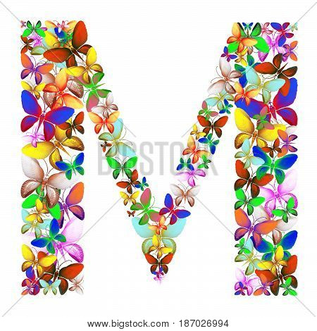 butterflies of different colors, made of sea shells isolated on a white background stacked in the form of letters M