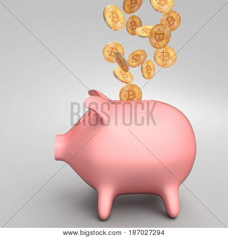 toy piggybank and golden bitcoin coin 3d rendering image