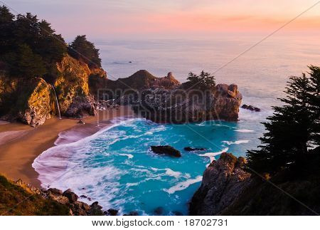 McWay Falls at Big Sur at sunset, California poster