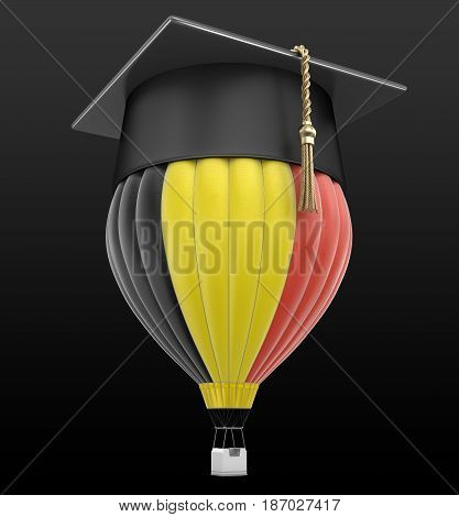 3d illustration. Hot Air Balloon with Belgian Flag and Graduation cap. Image with clipping path