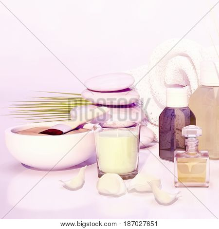 Spa still life with stacked of stone candle and palm leaf. 3D illustration