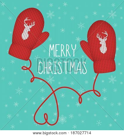 Red knitted mittens with silhouette of head of reindeer, Merry Christmas and New Year concept. Snowflakes on background Vector illustration.