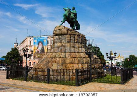 Bohdan Khmelnitskiy Statue in Kyiv Ukraine poster