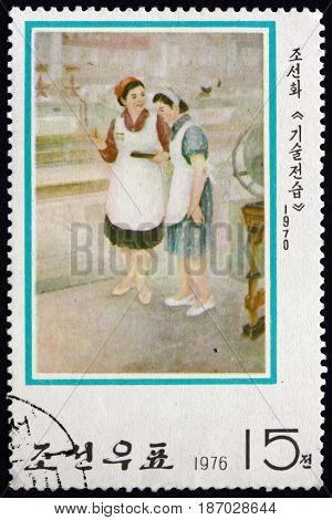 NORTH KOREA - CIRCA 1976: a stamp printed in North Korea shows Passing-on Technique (1970) Modern Korean Painting circa 1976