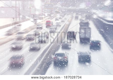 City road traffic in winter